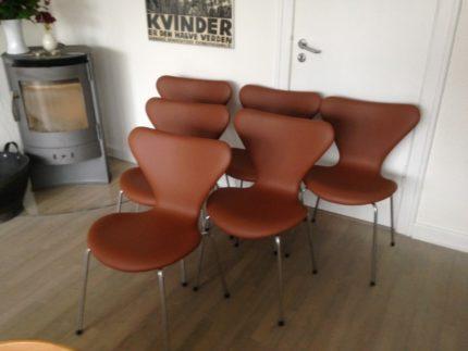 Arne Jacobsen 7 stol i cognac savannelæder